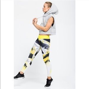 Adidas full length legging gym yellow gray woman L